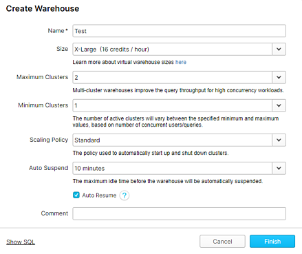 Snowflake Warehouse Scaling Policy